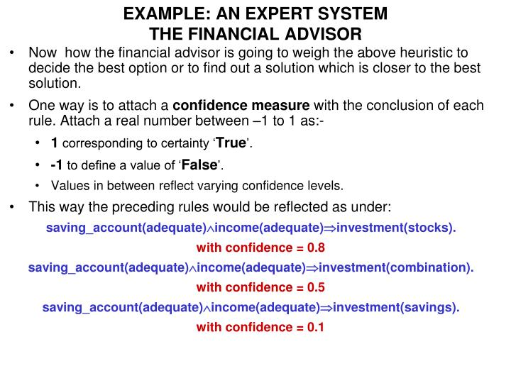 EXAMPLE: AN EXPERT SYSTEM