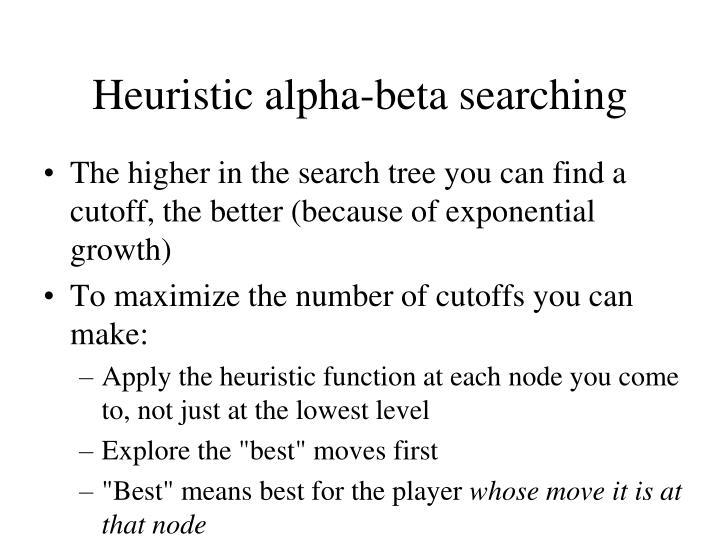 Heuristic alpha-beta searching