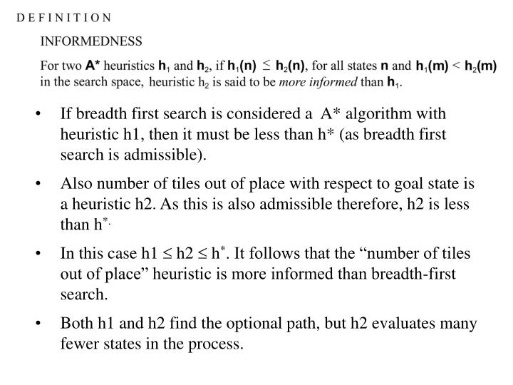 If breadth first search is considered a  A* algorithm with heuristic h1, then it must be less than h* (as breadth first search is admissible).