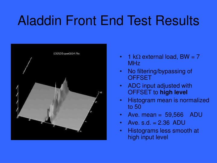 Aladdin front end test results1