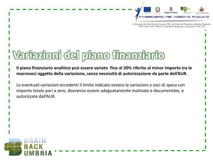 Variazioni del piano finanziario