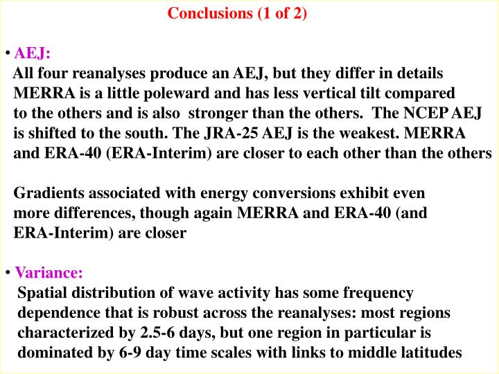 Conclusions (1 of 2)