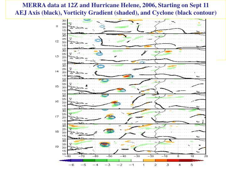 MERRA data at 12Z and Hurricane Helene, 2006, Starting on Sept 11