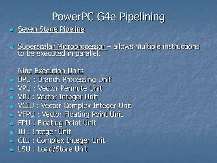 PowerPC G4e Pipelining