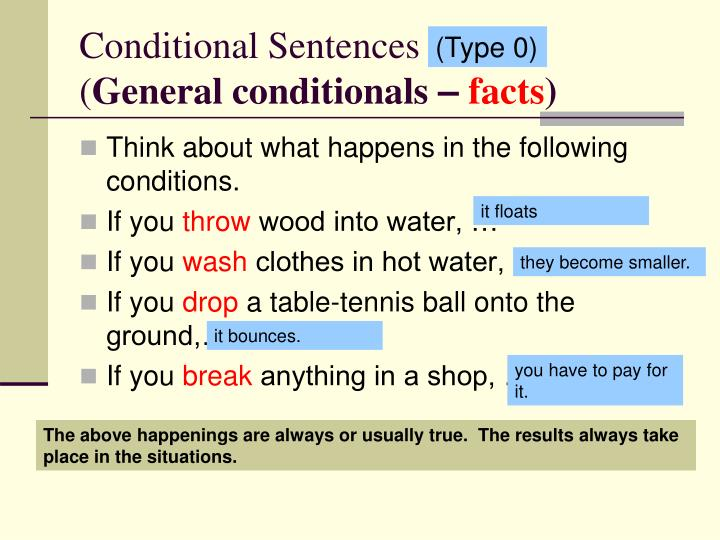 conditional sentences general conditionals facts