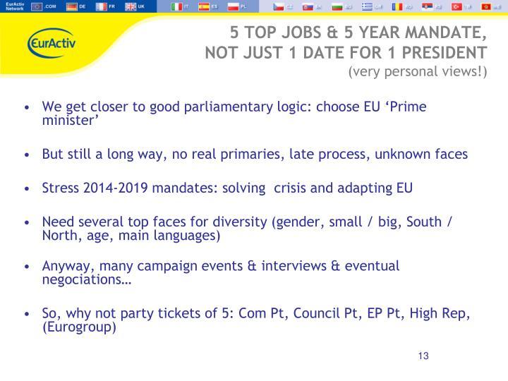 5 TOP JOBS & 5 YEAR MANDATE,