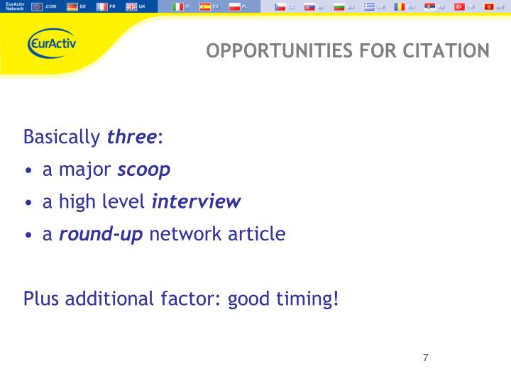 OPPORTUNITIES FOR CITATION