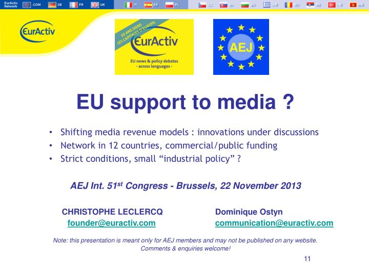 EU support to media?