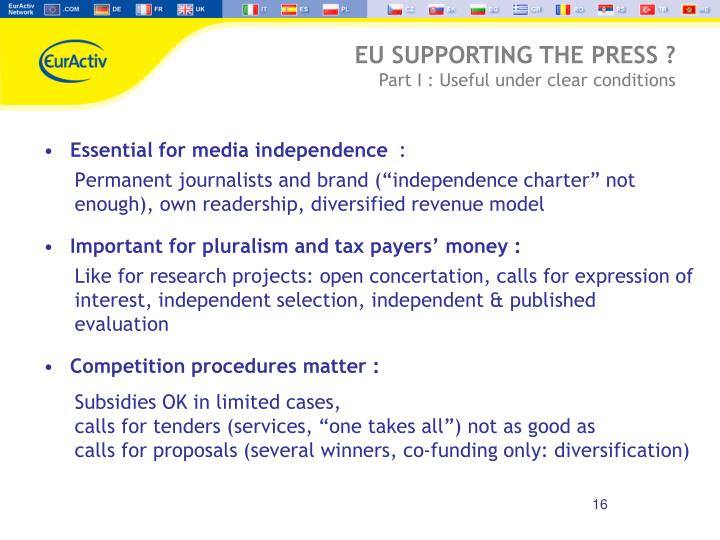 Essential for media independence