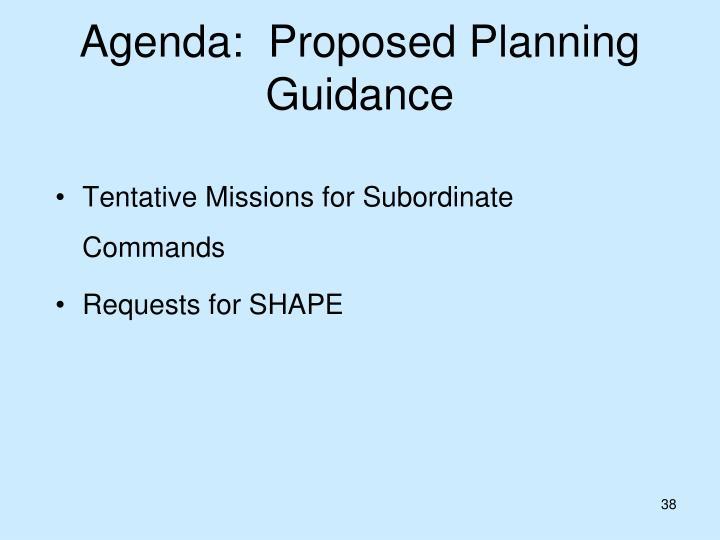 Agenda:  Proposed Planning Guidance