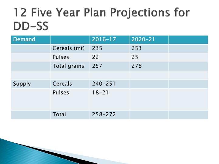 12 Five Year Plan Projections for DD-SS