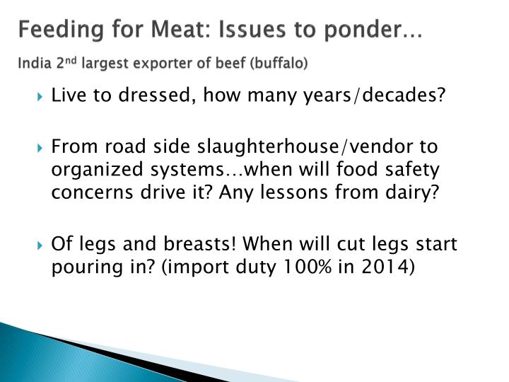 Feeding for Meat: Issues to ponder…
