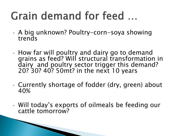 Grain demand for feed …
