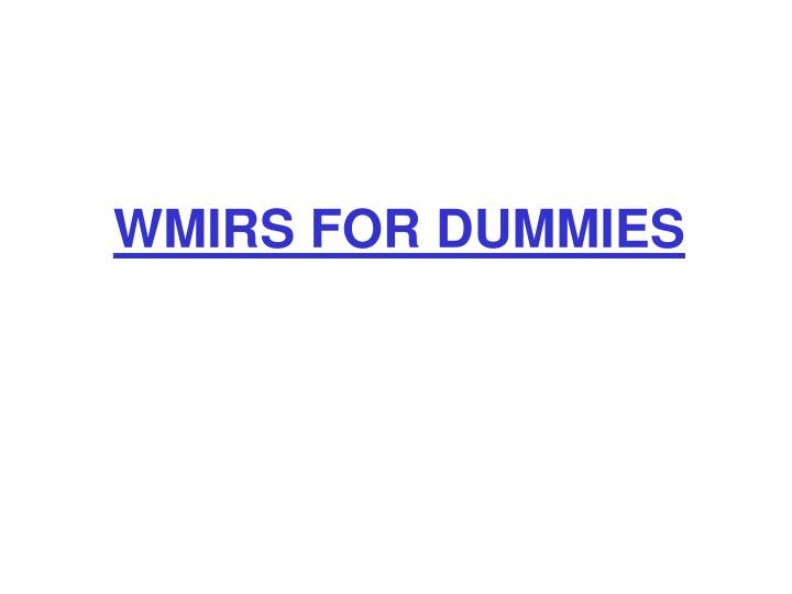 WMIRS FOR DUMMIES
