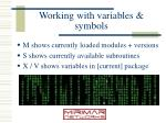 working with variables symbols