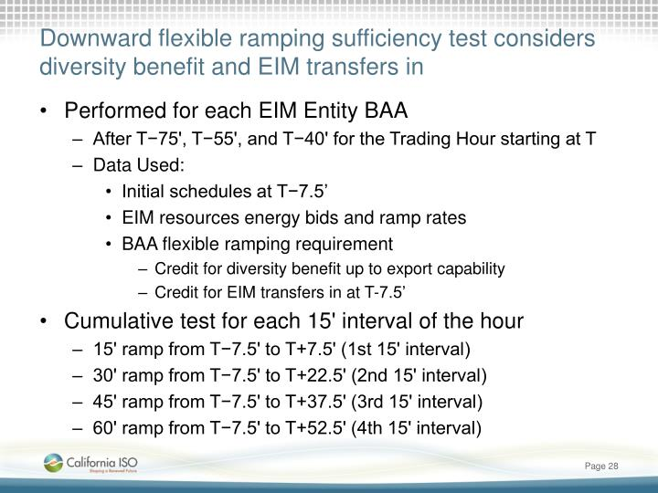 Downward flexible ramping sufficiency test considers diversity benefit and EIM transfers in