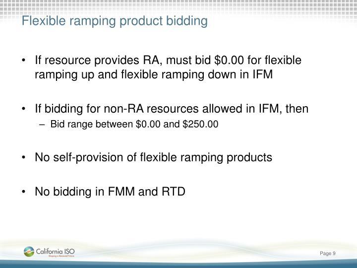 Flexible ramping product bidding