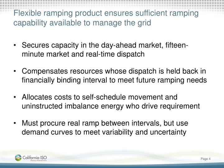 Flexible ramping product ensures sufficient ramping capability available to manage the grid