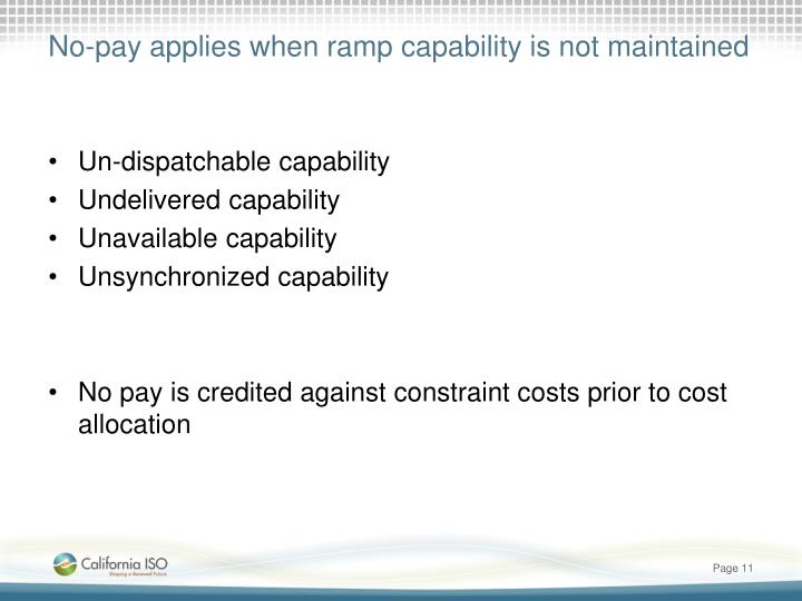 No-pay applies when ramp capability is not maintained