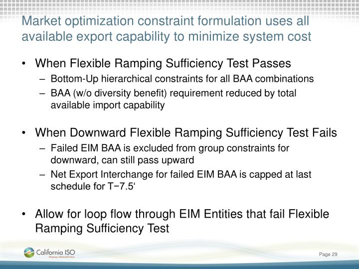 Market optimization constraint formulation uses all available export capability to minimize system cost