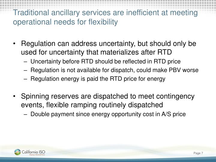 Traditional ancillary services are inefficient at meeting operational needs for flexibility