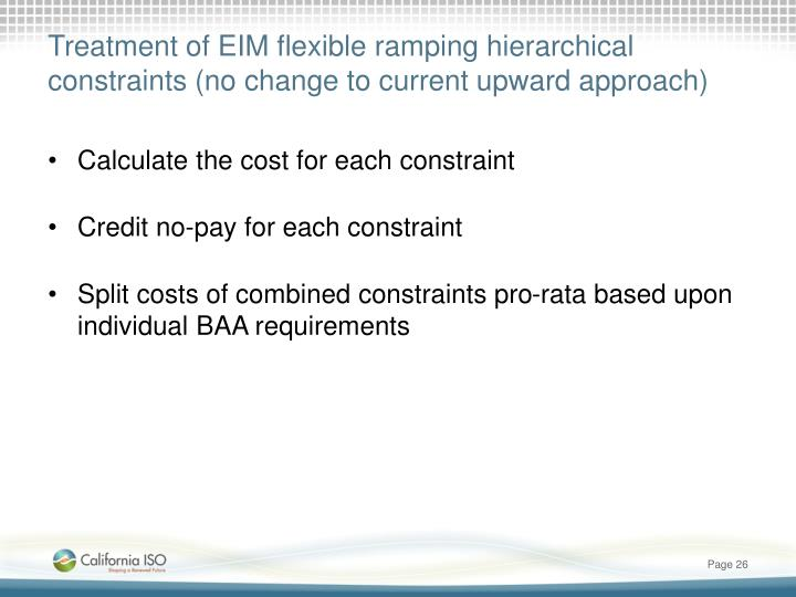 Treatment of EIM flexible ramping hierarchical constraints (no change to current upward approach)