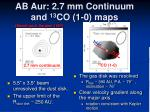 ab aur 2 7 mm continuum and 13 co 1 0 maps