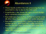 abundances ii