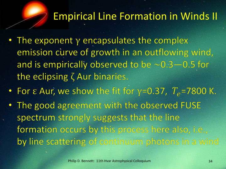 Empirical Line Formation in Winds II