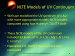 nlte models of uv continuum