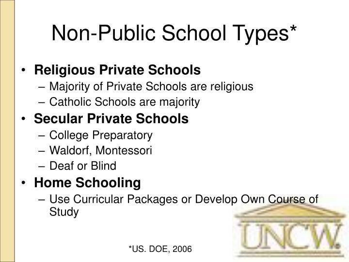 Non-Public School Types*