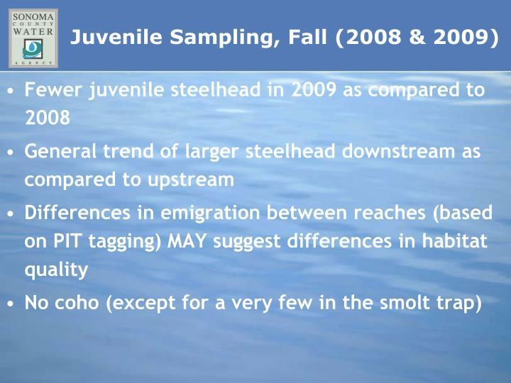 Juvenile Sampling, Fall (2008 & 2009)