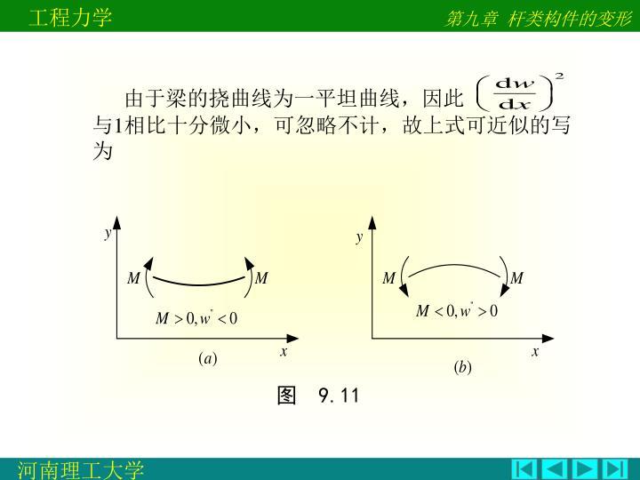 由于梁的挠曲线为一平坦曲线,因此                                  与