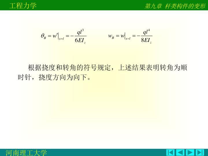 根据挠度和转角的符号规定,上述结果表明转角为顺时针,挠度方向为向下。