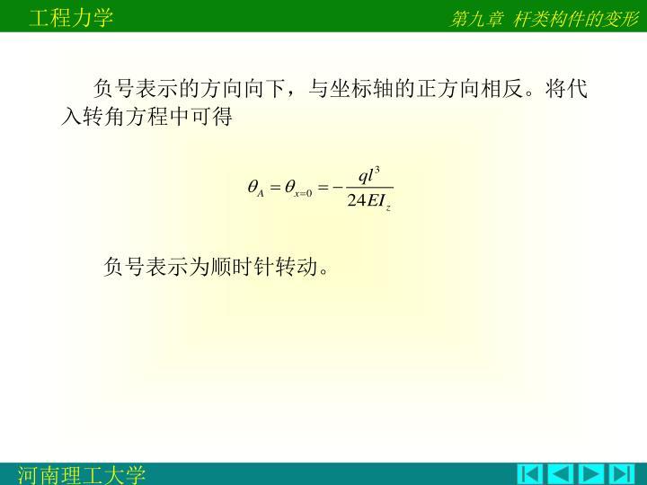 负号表示的方向向下,与坐标轴的正方向相反。将代入转角方程中可得