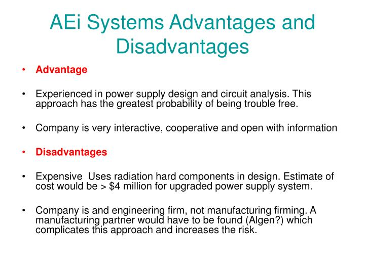 AEi Systems Advantages and Disadvantages
