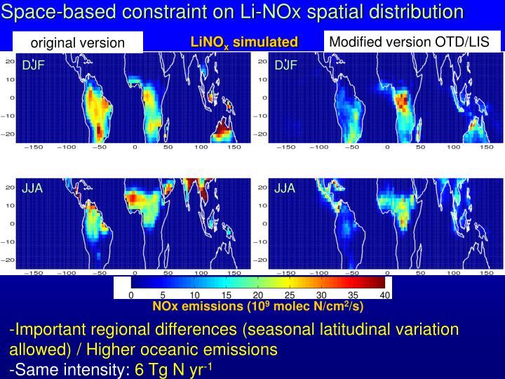 Space-based constraint on Li-NOx spatial distribution