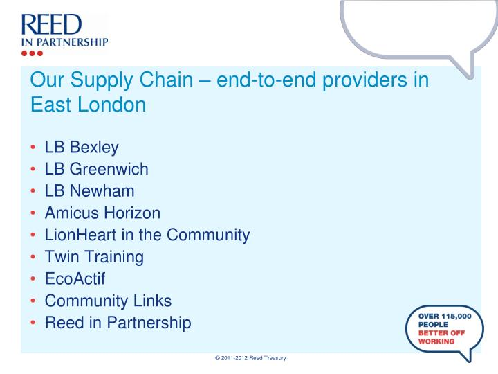 Our Supply Chain – end-to-end providers in East London