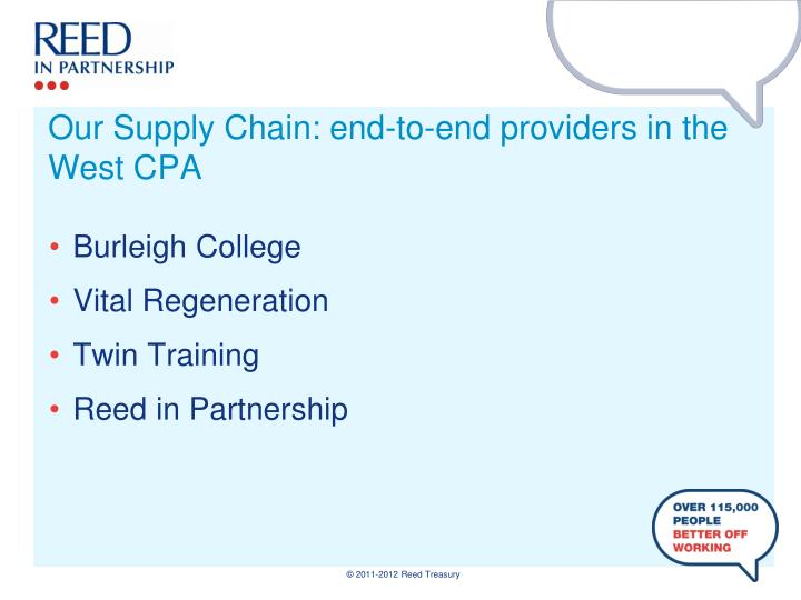 Our Supply Chain: end-to-end providers in the West CPA