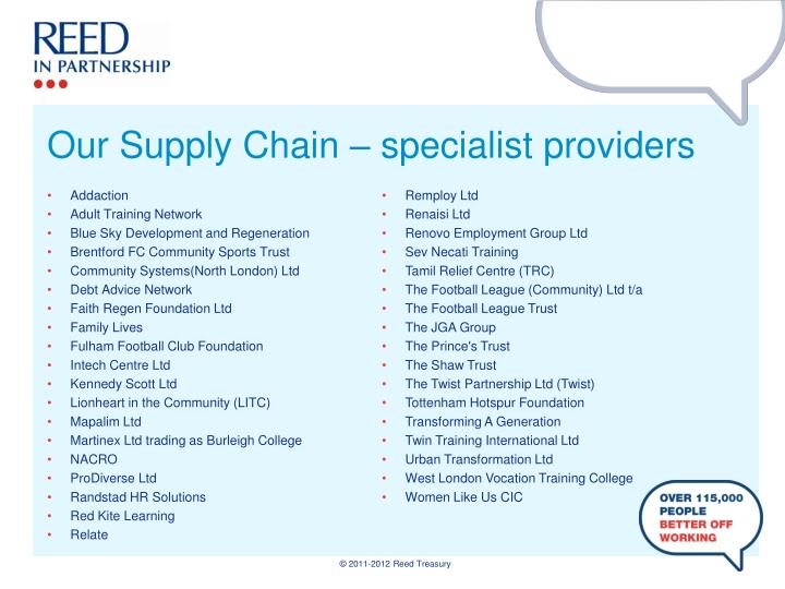 Our Supply Chain – specialist providers