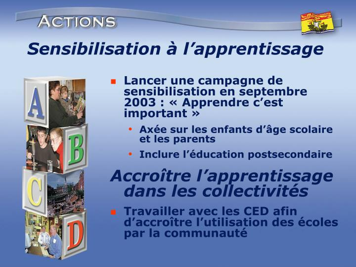 Sensibilisation à l'apprentissage