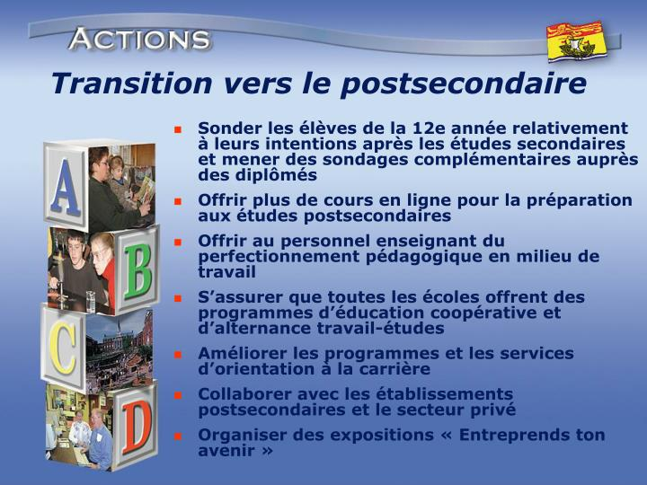 Transition vers le postsecondaire