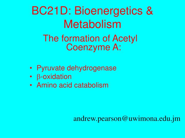 BC21D: Bioenergetics & Metabolism