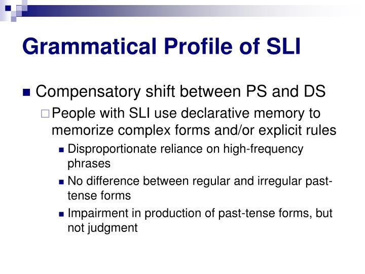 Grammatical Profile of SLI