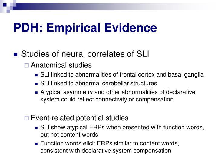 PDH: Empirical Evidence
