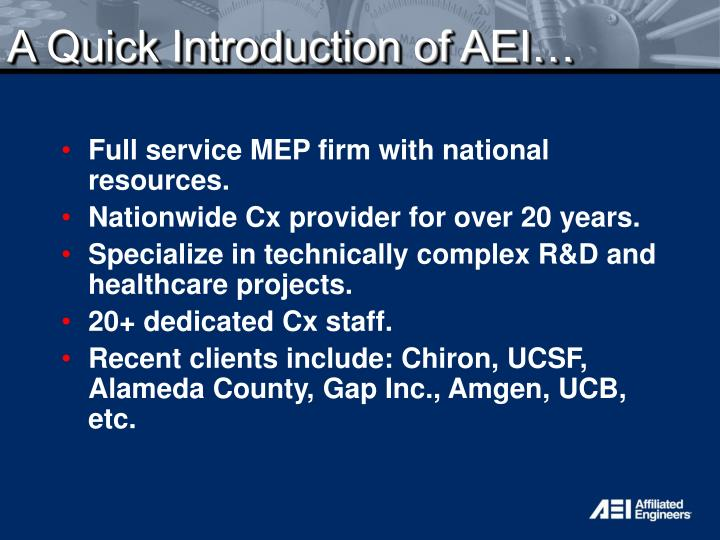 A quick introduction of aei