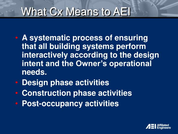 What Cx Means to AEI