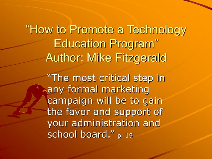 """How to Promote a Technology Education Program"""