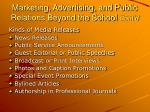 marketing advertising and public relations beyond the school cont d