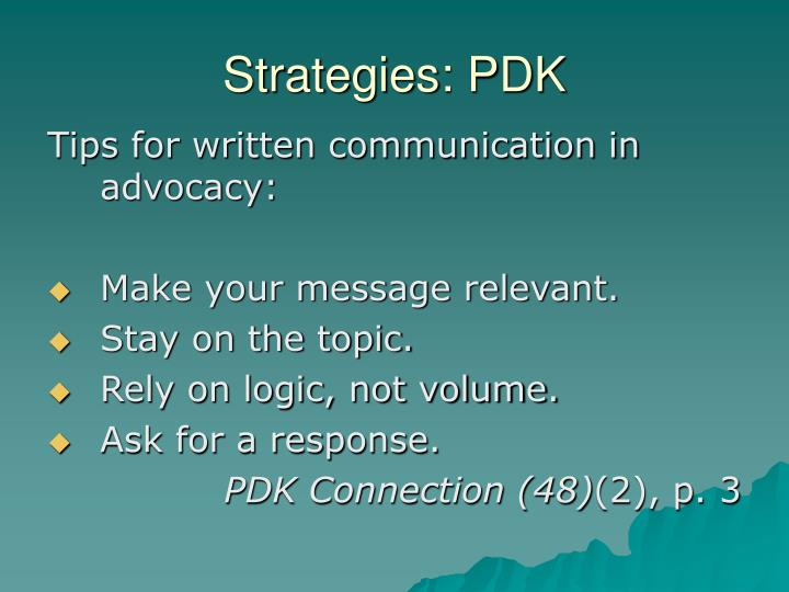 Strategies: PDK
